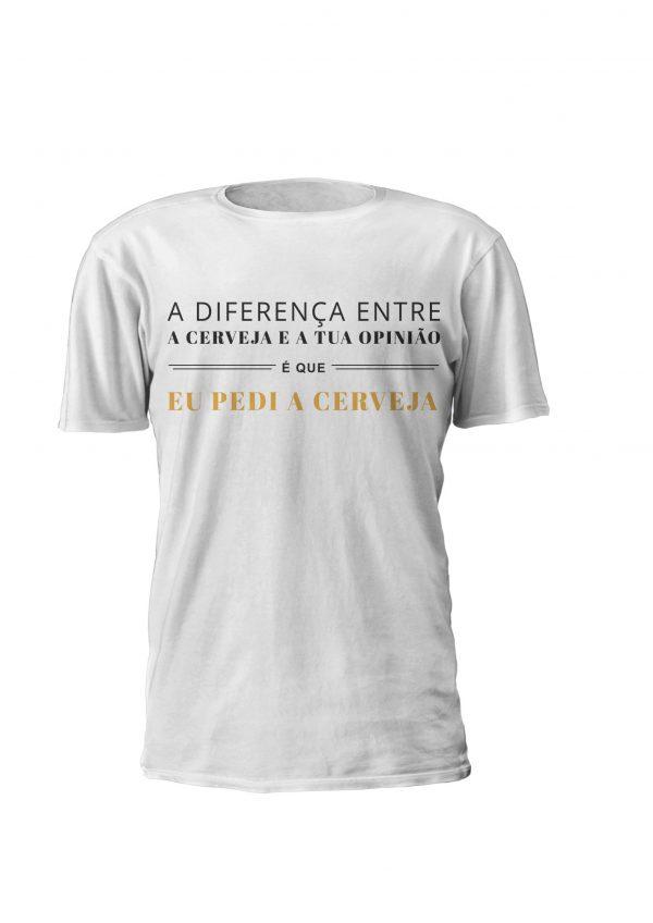 T-shirt personalizada para homem e Mulher A diferença entre a cerveja e a tua opinião, Divertida