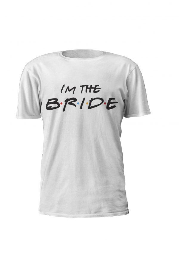T-shirt personalizada para despedida de solteira inspirada na sérire Friends. Design I'm the Bride. Conjunto com Design I do Crew para as amigas da noiva