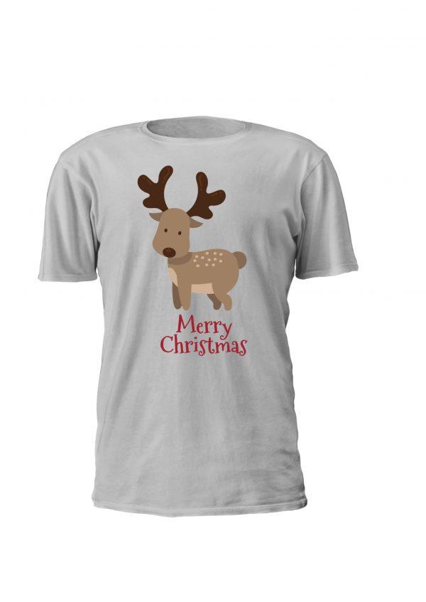 T-shirt de Natal Merry Christmas. Design para criança com rena em vários tamanhos e cores