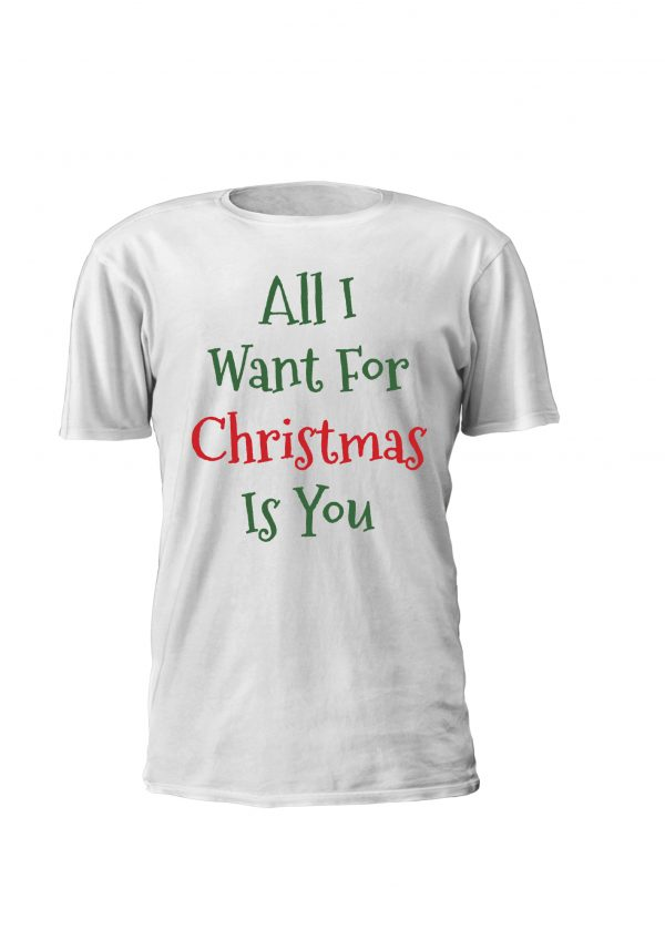 All I Want For Christmas Is You. T-shirt e sweatshirt personalizadas para criança com tema de natal. Lettering verde e vermelho